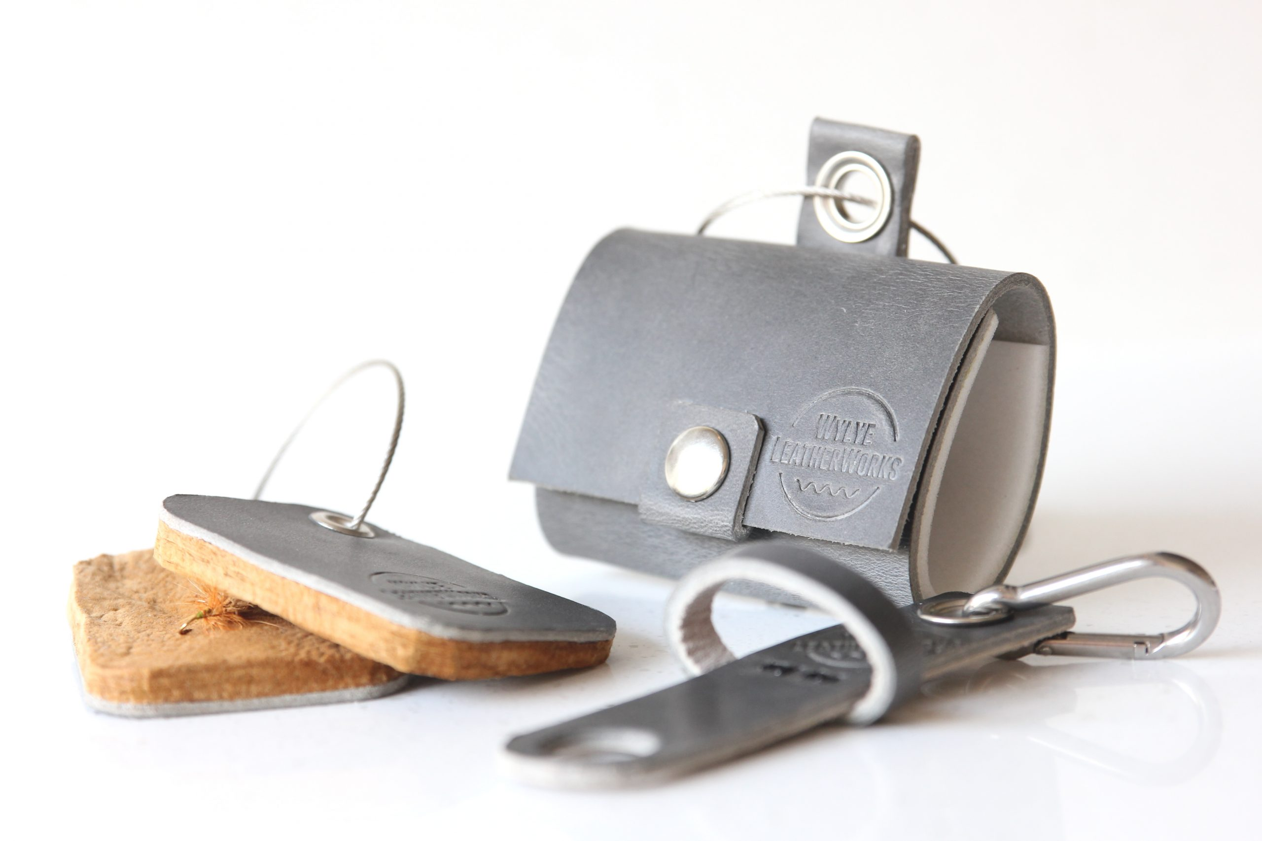 Bespoke Grey Leather Fly Fishing Accessories Collection